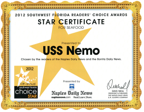 Naples Daily News Choice Awards USS Nemo, a Naples Florida restaurant, for best seafood in Naples 2012