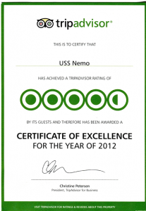 Naples Florida restaurant, USS Nemo, receives tripadvisor Certificate of Excellence 2012