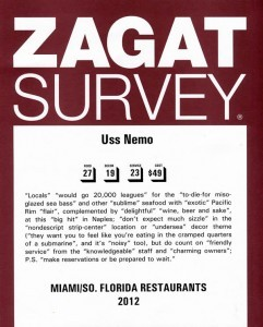 USS Nemo is an award-winning Naples Florida restaurant, Zagat Survey South Florida Restaurants 2012